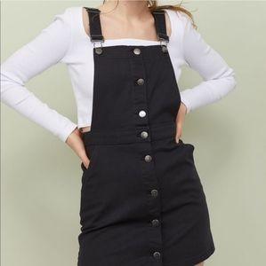 Divided H&M black denim bib overall dress size 8